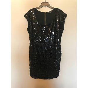 Sexy Black mini sequins dress 2X